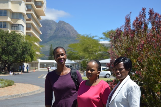 Ms Lenah Menyatso (left) Ms Rita Tumotumo (centre) and Ms Kelebonye Johane (right) CNPDI UCT Feb 2017